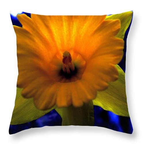 Daffodil Throw Pillow featuring the painting Daffy Doll by Renate Nadi Wesley