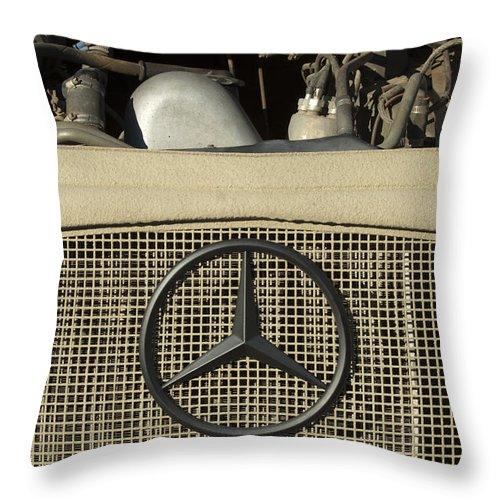 Daimler-benz A-g Throw Pillow featuring the photograph Daimler-benz A-g Hood Emblem by Jill Reger