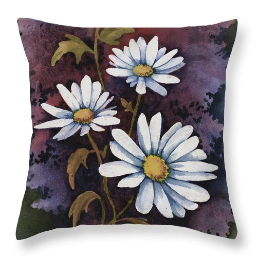 Flowers Throw Pillow featuring the painting Daisies III by Sam Sidders