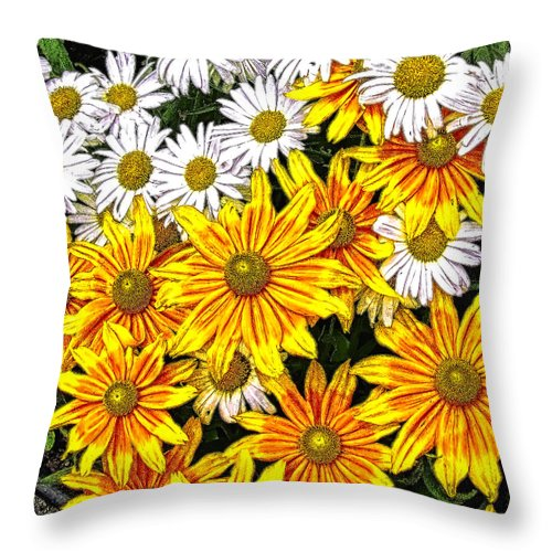 Daily Throw Pillow featuring the photograph Daisy Garden by Mark Sellers