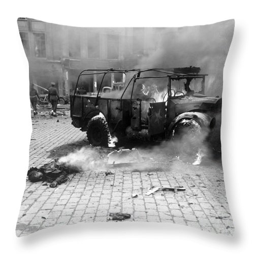 Horizontal Throw Pillow featuring the photograph Damage Done By A V-2 Rocket In Antwerp by Stocktrek Images