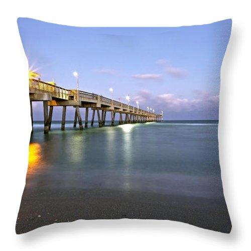 Dania Throw Pillow featuring the photograph Dania Beach Pier by Glennis Siverson