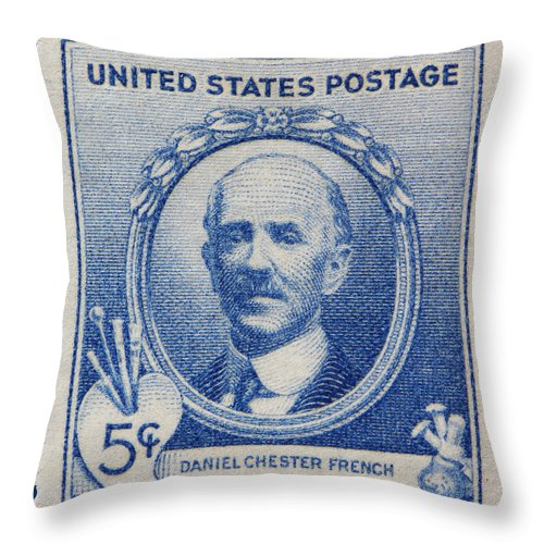 Daniel Chester French Postage Stamp Throw Pillow featuring the photograph Daniel Chester French Postage Stamp by James Hill
