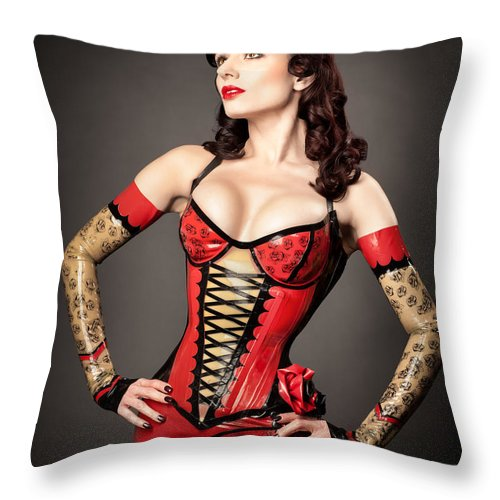 Latex Fetish Throw Pillow featuring the photograph Darenzia 1055 by Gary Heller