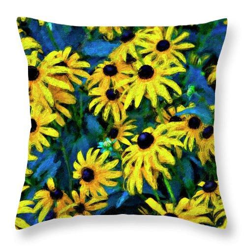 Flower Throw Pillow featuring the photograph Dark Eyed Girls by Steve Harrington