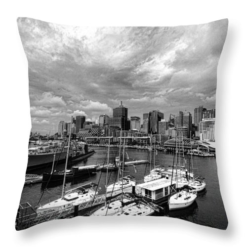 Darling Harbor Throw Pillow featuring the photograph Darling Harbor- Black And White by Douglas Barnard
