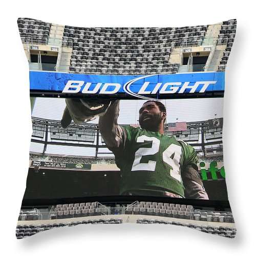 Darrelle Revis Throw Pillow featuring the photograph Darrelle Revis - Ny Jets by Paul Ward