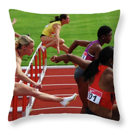 Canadian Track And Field National Championships 2011 Throw Pillow featuring the photograph Dash To The Finish by Bob Christopher