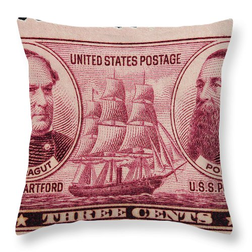 David Glasgow Farragut Postage Stamp Throw Pillow featuring the photograph David Glasgow Farragut And David Porter Postage Stamp by James Hill