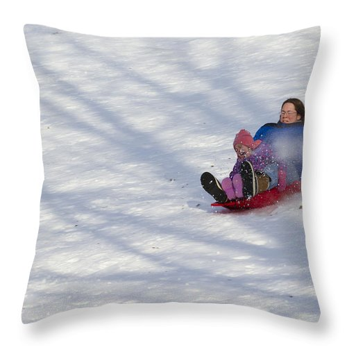 Mother Throw Pillow featuring the photograph Dawn Flora Sledding 12812c by John Brueske