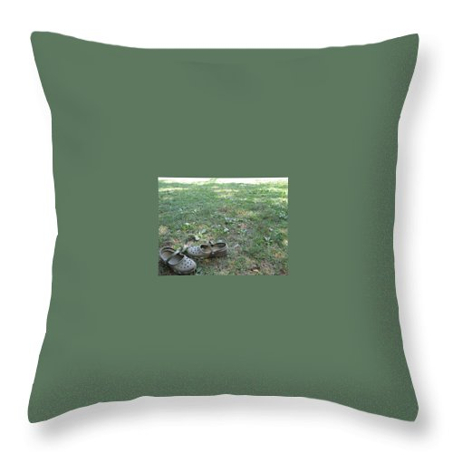 Green Throw Pillow featuring the photograph Day At The Lake by Michele Nelson