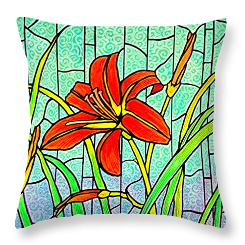 Flowers Throw Pillow featuring the painting Day Lily by Jim Harris
