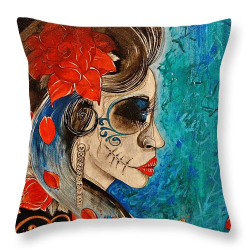 Dead Throw Pillow featuring the painting Deadly Sweet by Sandro Ramani