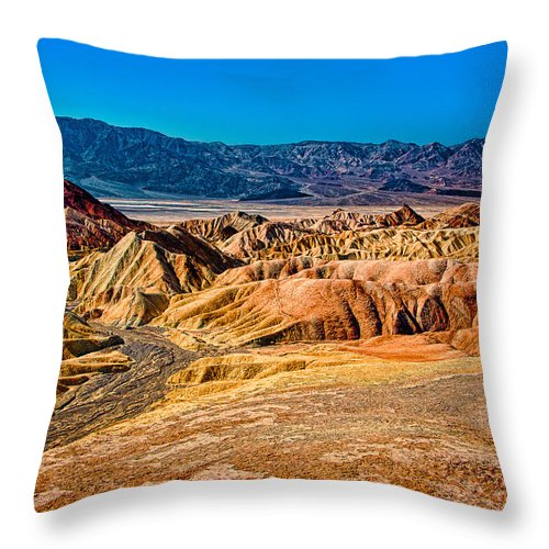 Zabriskie Point Throw Pillow featuring the photograph Death Valley From Zabriskie Point by Greg Nyquist