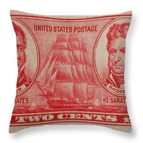 Admiral Stephen Decatur Postage Stamp Throw Pillow featuring the photograph Decatur And Macdonagh Postage Stamp by James Hill
