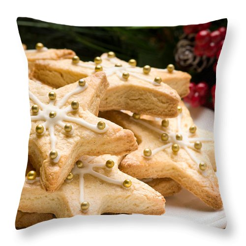 Glazed Throw Pillow featuring the photograph Decorated Christmas Cookies In Festive Setting by U Schade