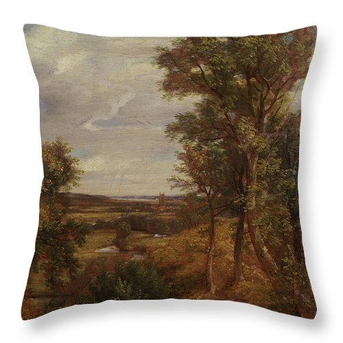 East Anglia; Anglian; Landscape; Rural Throw Pillow featuring the painting Dedham Vale by John Constable