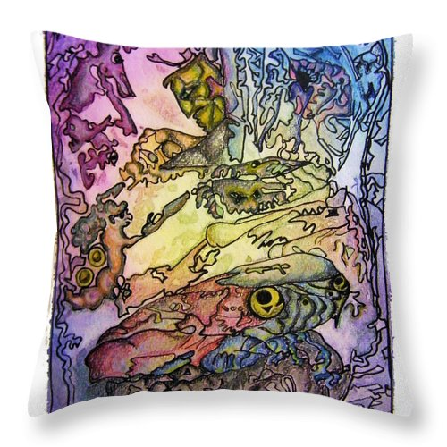 Kritters Throw Pillow featuring the painting Deepsea Kritters by Mimulux patricia No