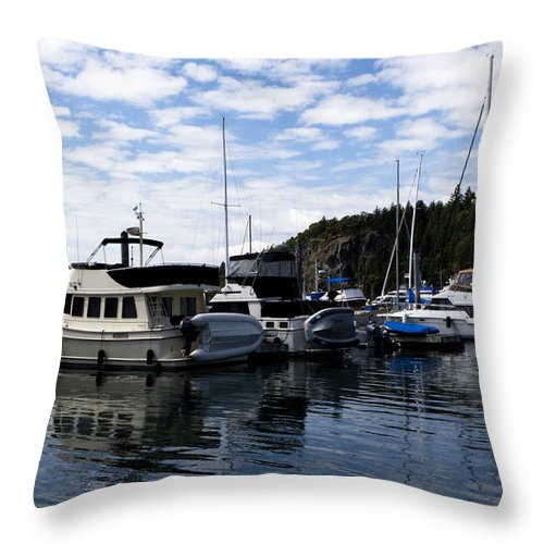 San Juan Islands Throw Pillow featuring the photograph Deer Harbor Blues by Lorraine Devon Wilke