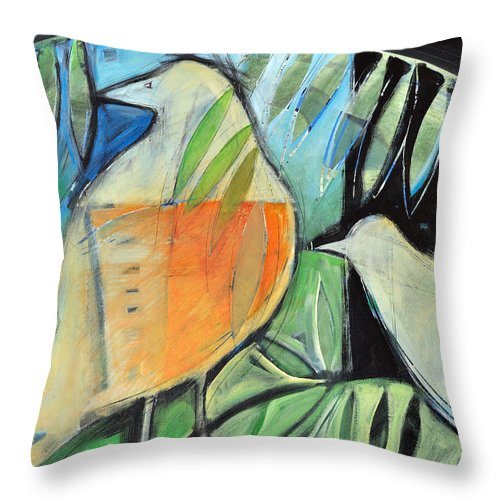 Birds Throw Pillow featuring the painting Defender by Tim Nyberg