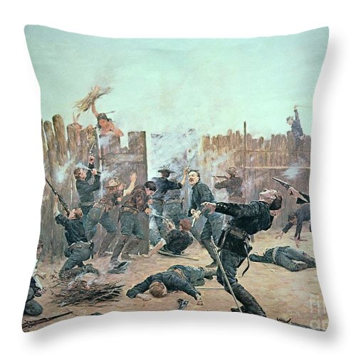 War Throw Pillow featuring the painting Defending The Fort by Charles Schreyvogel