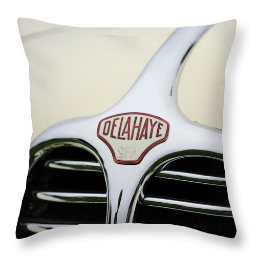 Delahaye Throw Pillow featuring the photograph Delahaye Hood Emblem by Jill Reger