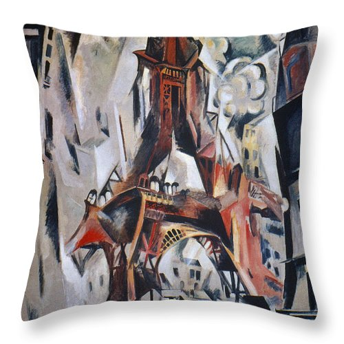 1910 Throw Pillow featuring the photograph Delaunay: Eiffel Tower, 1910 by Granger
