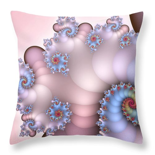 Fractal Throw Pillow featuring the digital art Delicate Blush by Jutta Maria Pusl