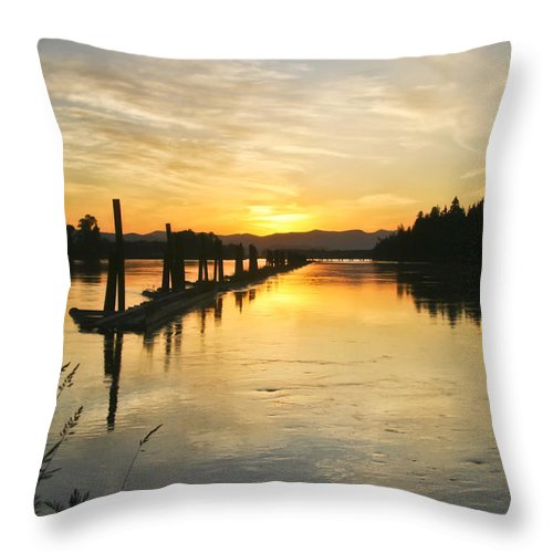 Clark Fork Throw Pillow featuring the photograph Delta Sunset by Albert Seger