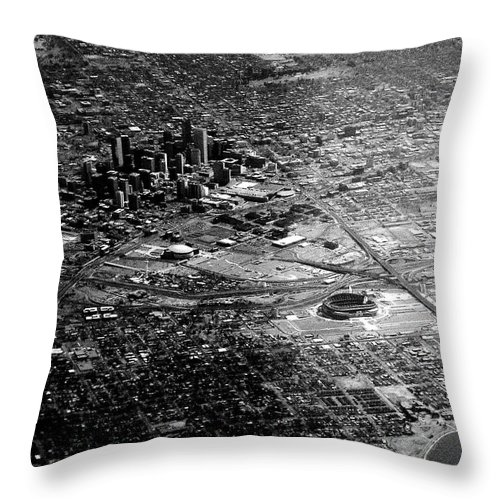 Aerial Throw Pillow featuring the photograph Denver In The Sky by Anthony Wilkening