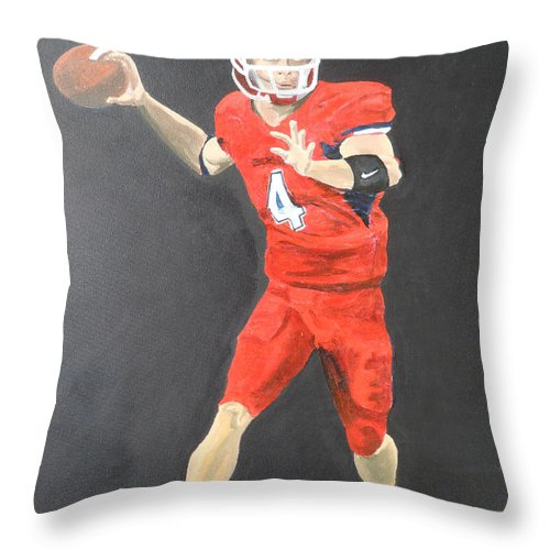 Derek Carr Throw Pillow featuring the painting Derek Carr by Travis Day