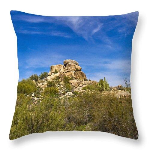 Desert Throw Pillow featuring the photograph Desert Boulders by Scott Pellegrin