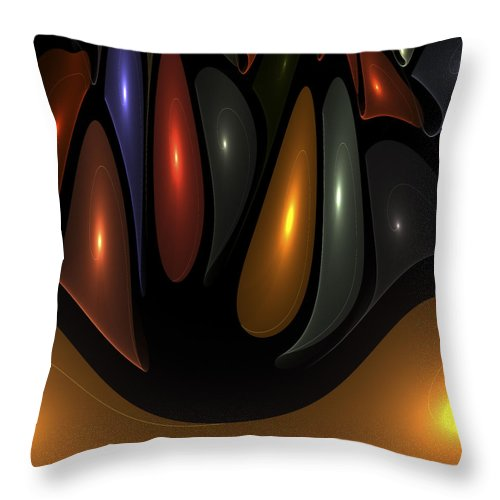 Bubble Bubbles Fractal Fractals Art Modern Color Colorful Light Lights Glowing Throw Pillow featuring the digital art 'desert Bubbles by Steve K