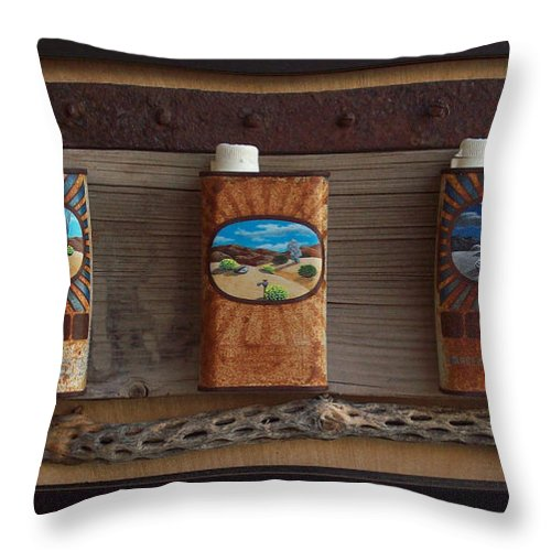 Sculpture Throw Pillow featuring the painting Desert Tryptich by Snake Jagger