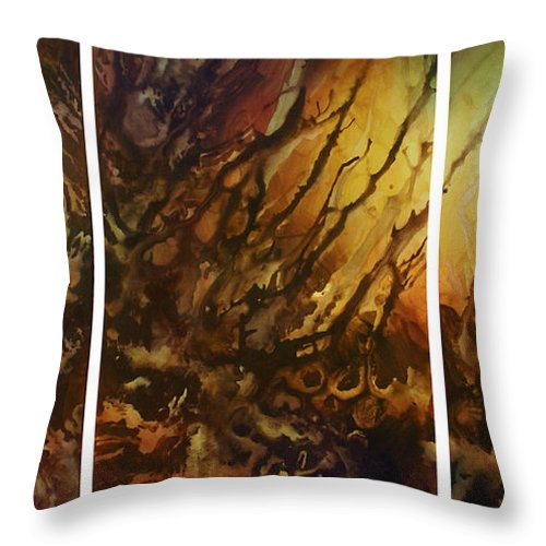 Random Abstract Design Throw Pillow featuring the painting Design 1 by Michael Lang