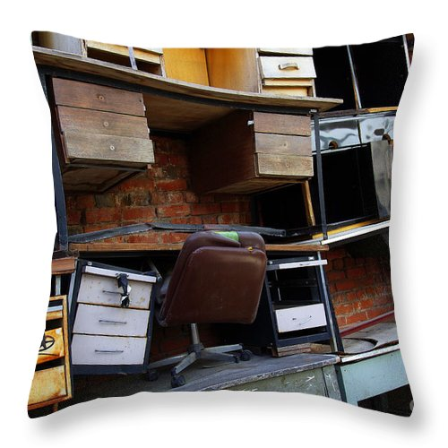 Abandoned Throw Pillow featuring the photograph Desk Scrap by Carlos Caetano