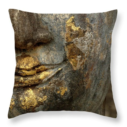 Khmier Throw Pillow featuring the photograph Detail Buddhas Lips by Bob Christopher