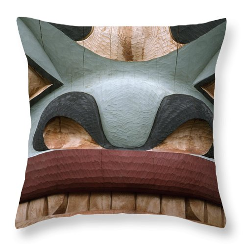 Religion Throw Pillow featuring the photograph Detail Of A Totem Pole by Anne Keiser
