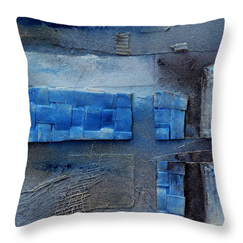 Blue Throw Pillow featuring the painting Detail Of Memories 7 by Jorge Berlato