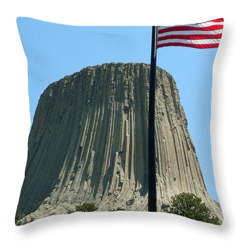Devil's Tower Throw Pillow featuring the photograph Devil's Tower Old Glory by Jeff Lowe