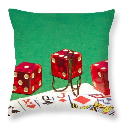Red Throw Pillow featuring the photograph Dice Red Cards Hook 1 B by John Brueske