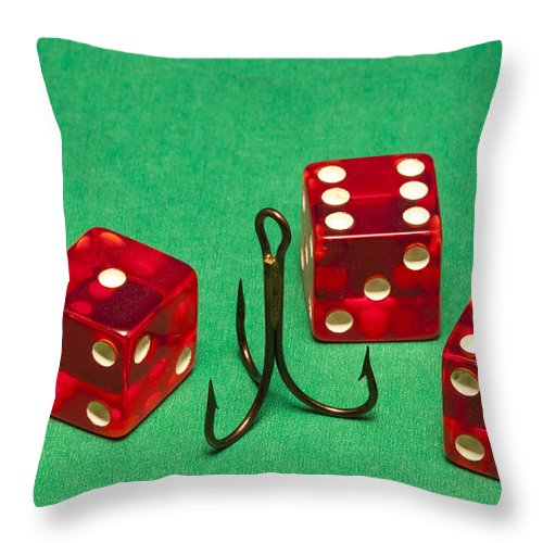 Red Throw Pillow featuring the photograph Dice Red Hook 1 A by John Brueske