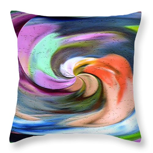 Original Throw Pillow featuring the digital art Digital Swirl Of Color 2001 by Carl Deaville