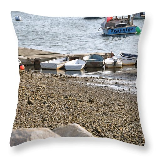 Dinghies Throw Pillow featuring the photograph Dinghies At Green Harbor by Christine Stonebridge