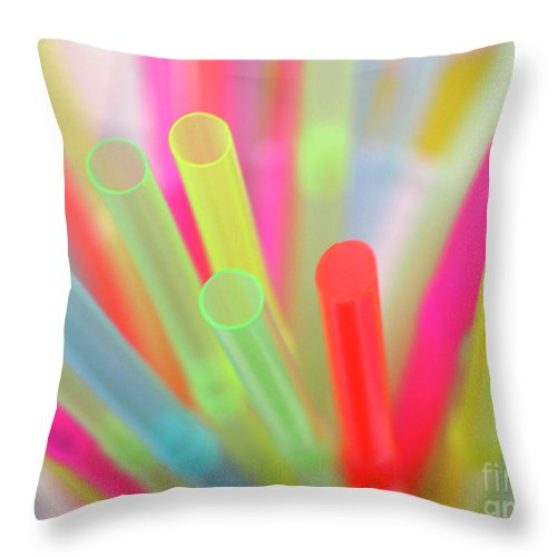 Abstract Throw Pillow featuring the photograph Drinking Straws by Carlos Caetano