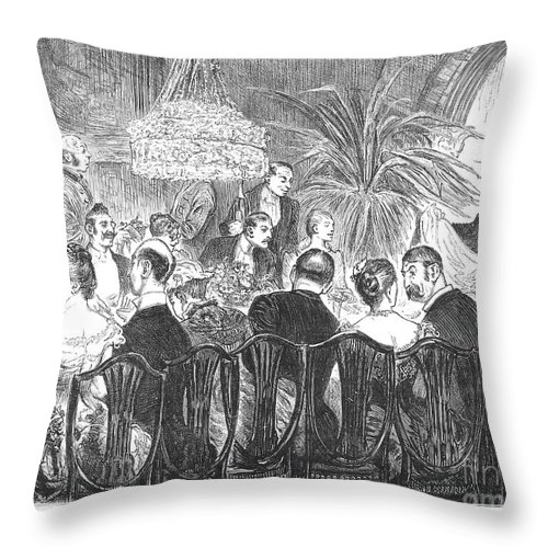 1885 Throw Pillow featuring the photograph Dinner Party, 1885 by Granger