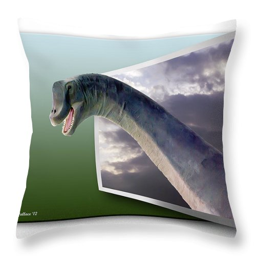 2d Throw Pillow featuring the photograph Dinosaur - Oof by Brian Wallace