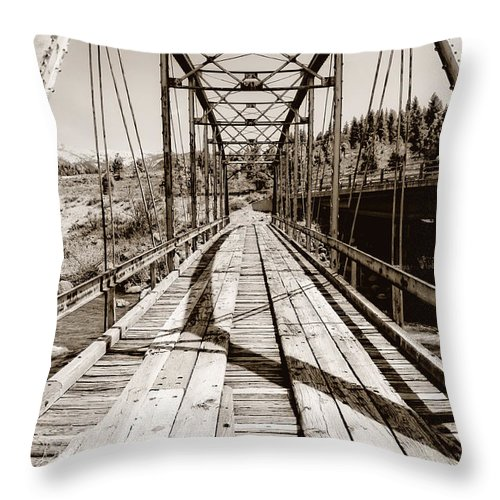 Bridge Throw Pillow featuring the photograph Discarded Bridges by Donna Blackhall