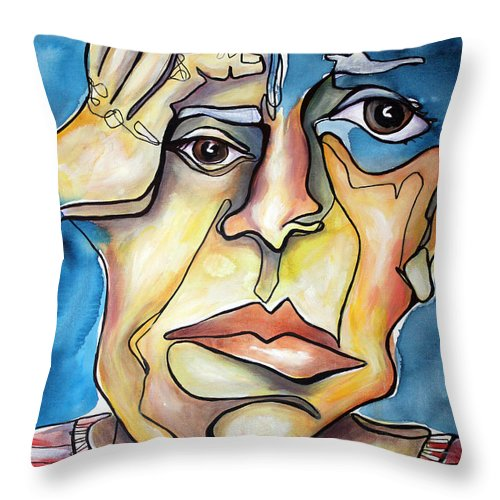 Portrait Throw Pillow featuring the painting Disjointed Thought by Darcy Lee Saxton