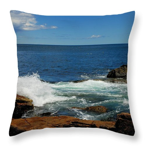 acadia National Park Throw Pillow featuring the photograph Distant Storm by Paul Mangold